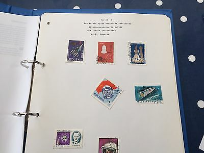 Specialist album on space stamps written up by a finnish collector thematic
