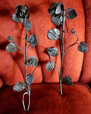 Two rare and unusual Art Nouveau wrought iron bracket light fittings c.1900