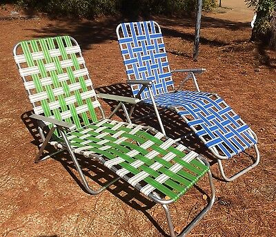 Vtg PAIR Aluminum Patio Folding WEBBED Chaise LOUNGER Reclining Yard Lawn Chairs