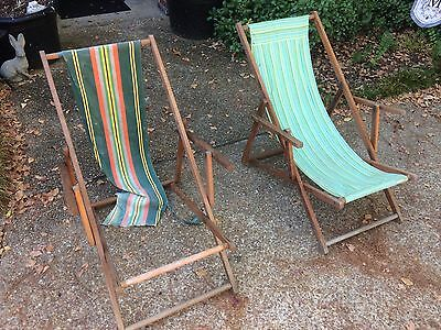 PAIR Frostbrand Vtg Wooden Folding Striped Canvas Sling Lounge Beach Slat Chairs