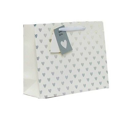 "Medium Unisex Gift Bag - Landscape White & Silver Metallic Foil Hearts 7"" x 9"""