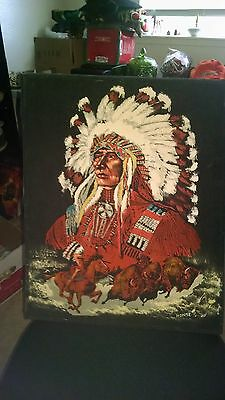Vintage Native Indian Oil Painting On Velvet Canvas Signed Monse 20 X 16 Estate
