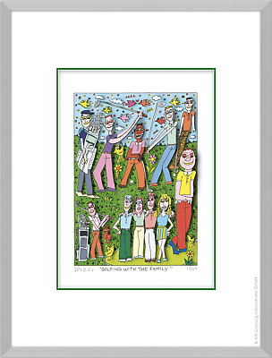 "Original James Rizzi 3 D Bild ""Golfing with the family"" NEU mit Zertifikat"