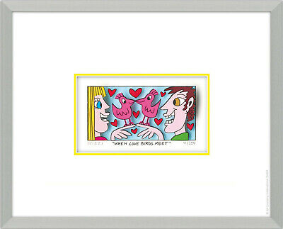 "Original  James Rizzi 3 D Bild "" WHEN LOVE BIRDS ME "" NEU Zertifikat"