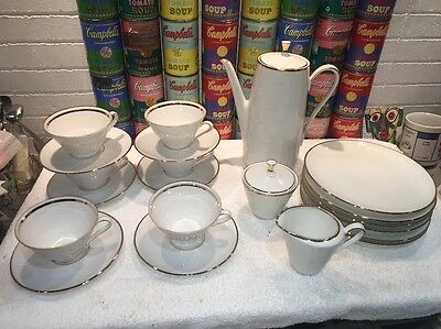 23 pc vintage modern Winterling Rosion Embossed Gold Coffee Dessert Luncheon svc