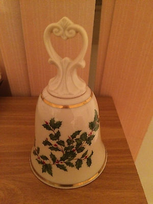 """Lenox Holiday Bell 5.25"""" Ivory w/ Holly Leaves Berries 24K Gold Detail"""