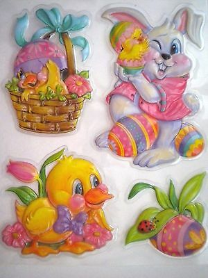 Pkg. Of 4 Easter/spring 3D Pop-Up Self-Adhesive Stickers Window Decor