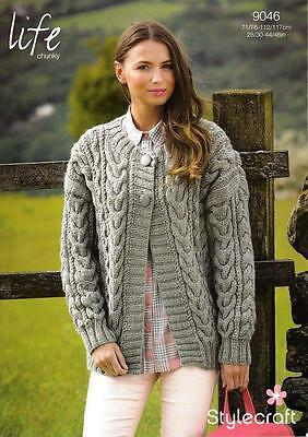 """Ladies Cable Jacket Chunky Knitting Pattern Stylecraft 9046 28 - 46"""""""