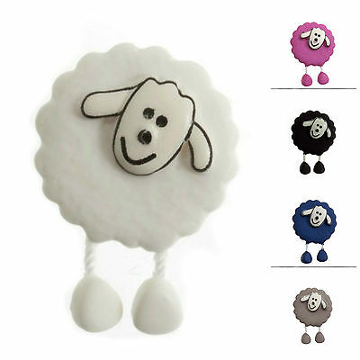 Dangly Leg Sheep Buttons 18mm  white grey pink blue black SOLD PER ONE BUTTON