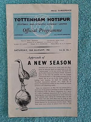 1961 - CHARITY SHIELD PROGRAMME - TOTTENHAM v FA SELECTED XI