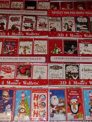 Christmas Money Wallets Pack Of 4 3D Gift Card Money Cash Children Adult