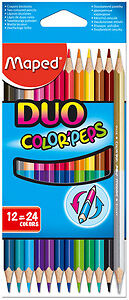 "12 Crayons de couleurs ""Color'peps duo"""