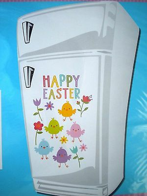"13 ""HAPPY EASTER"" REFRIGERATOR MAGNETS ~ Colourful Chicks & Flowers"
