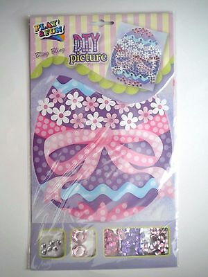FUN DIY CRAFT BLING BLING EASTER EGG PICTURE w/GEMSTONES & SEQUINS ~ #1
