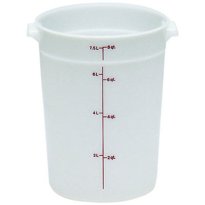 Cambro Plastic Storage Round Food Container White 8 qt. | 1/Pack