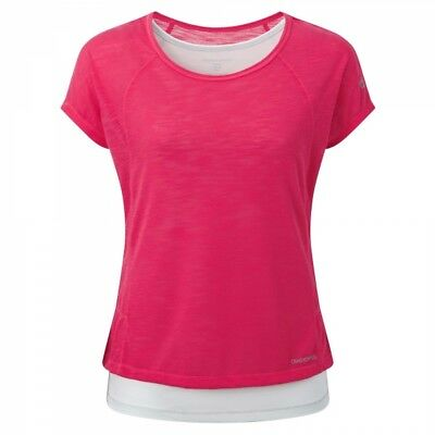 Craghoppers Womens Ladies Gym Exercise Active Pro Lite T-shirt in Pink/Grey