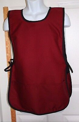 Cobbler /Smock Style Apron - Burgundy w/ Black - Made in USA