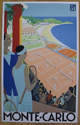 """MONTE CARLO roger broders TENNIS PLM original LITHO poster R89 35""""x22""""  inch"""