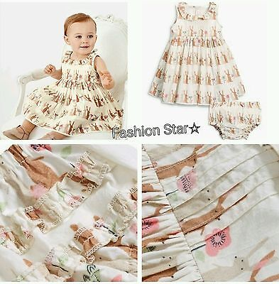 New*bnwt Next Baby Girl 0-1 0-3-Months  Cotton Bunny Prom Dress & Knickers