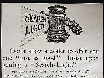 Antique Original1899 Print Ad (B10)~Bridgeport Brass Co. Search Light Bridgeport