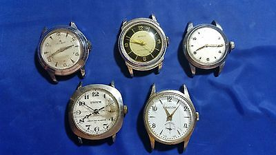 LOT OF 5 SWISS MADE MECHANICAL USED WRISTWATCHES for parts.