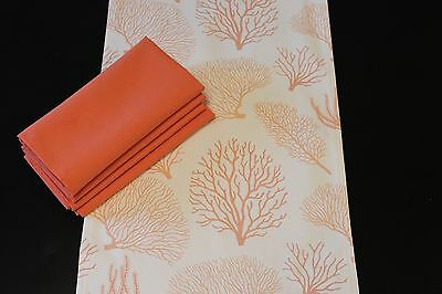 Coraline Coral Table Runner & Signature Napkin Set