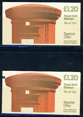 """2 Great Britain """"Pillar"""" 1 Pound 20 P. Booklets MNH with Black Tab and without"""