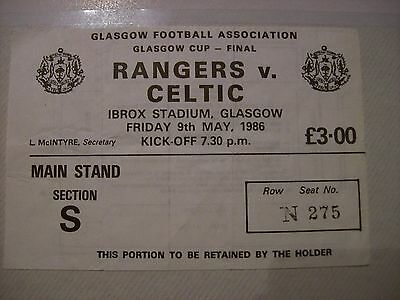 Rangers V Celtic Match Ticket Stub Glasgow Cup Final May 1986
