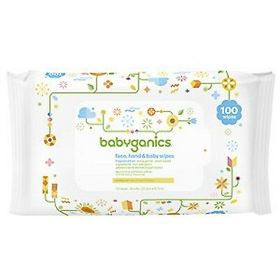 Babyganics Face, Hand & Baby Wipes, Fragrance Free, 100 Count Extra Gentle