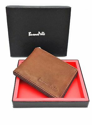 MENS DESIGNER GENUINE REAL Distressed LEATHER WALLET  Zip Around  / Coin Pocket