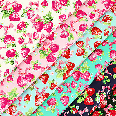 Cotton Print Fabric by FQ Strawberry Fruit Pink Bow & Flower Quilt Patchwork VR6