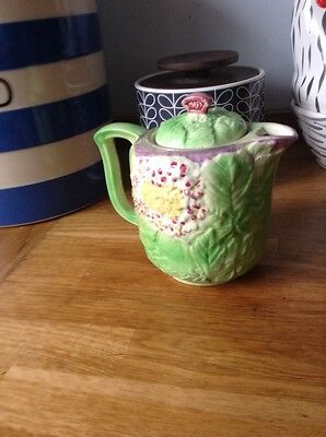 Vintage Ceramic Raised Leaf and Flower  Teapot Made in England