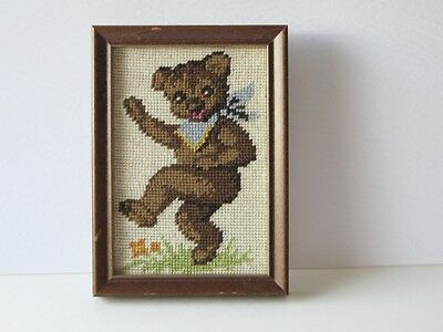 Completed Needlecraft Hand crafted Bear Framed Vintage