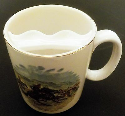 Lord Nelson Pottery Horse Cowboy White Ceramic Mustache Mug Cup