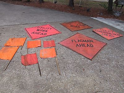 road utility construction sign lot caution flags