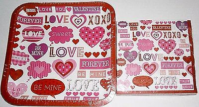 VALENTINE'S DAY Paper Plates and Luncheon Napkins  VALENTINE LABELS