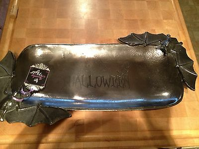 NEW 3d BAT DISPLAY Dark SILVER METAL TRAY PLATTER Halloween Black Cat  Decor