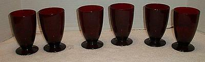 VTG 6 Royal Ruby Red Footed 8 oz Glass Tumblers