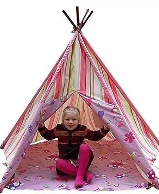 Pink Stripe Fairy Tobs Wigwam, Childrens Teepee Play Tent With Window
