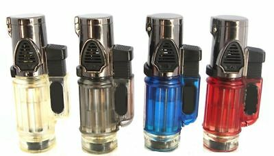 Triple Jet Windproof Torch Lighter Flame w Butane For Cigar Cigarette w Lock