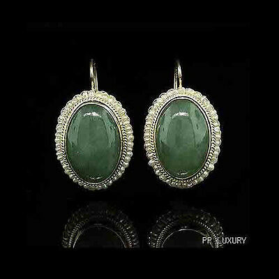 Vintage Style Oval Jadeite 14K Yellow Gold Earrings