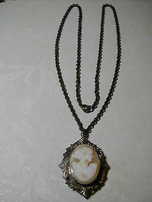 Victorian Locket Necklace with Wonderful Shell Cameo Pendant Free Shipping