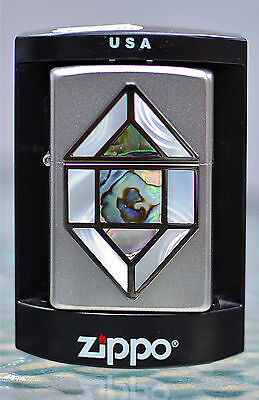 zippo  Stained Glass Emblem with genuine abalone and mother-of-pearl shell.