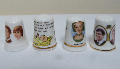 4 Commemorative China Thimbles Collectable Royalty Prince Harry Anne Of Cleves