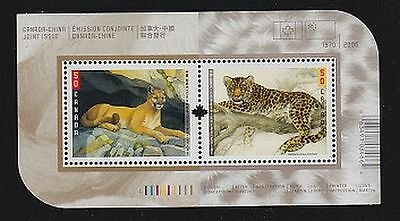 Canada, 2005 Souvenir Sheet 2123b, Canada/China Joint Issue: Big Cats, MNH