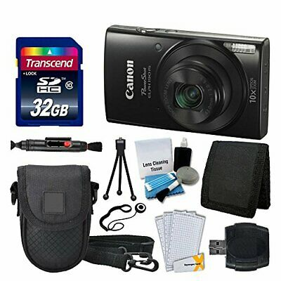 Canon PowerShot ELPH 190 IS Digital Camera (Black) Great Value Accessory Bundle