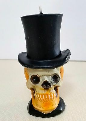 Vintage Halloween Skeleton Skulls Candle Wax Novelty Party Table Home Decor