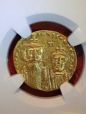 Byzantine Empire Constans II & Constant.IV AV Gold Solidus NGC MS Mint State 5/5