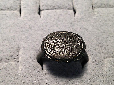 Byzantine Floral Pattern Bronze Ring 6th to 14th century size 7