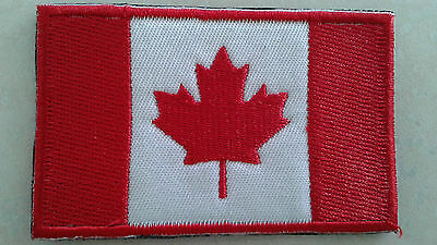 """1 Pc Canadian Flag Emb Patch 3-1/8""""x2"""" Hook Back"""